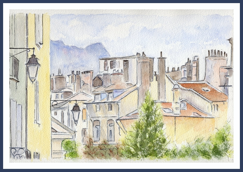 Grenoble - Place Notre-Dame - Aquarelle Christiane Rau 2013 -Copyright