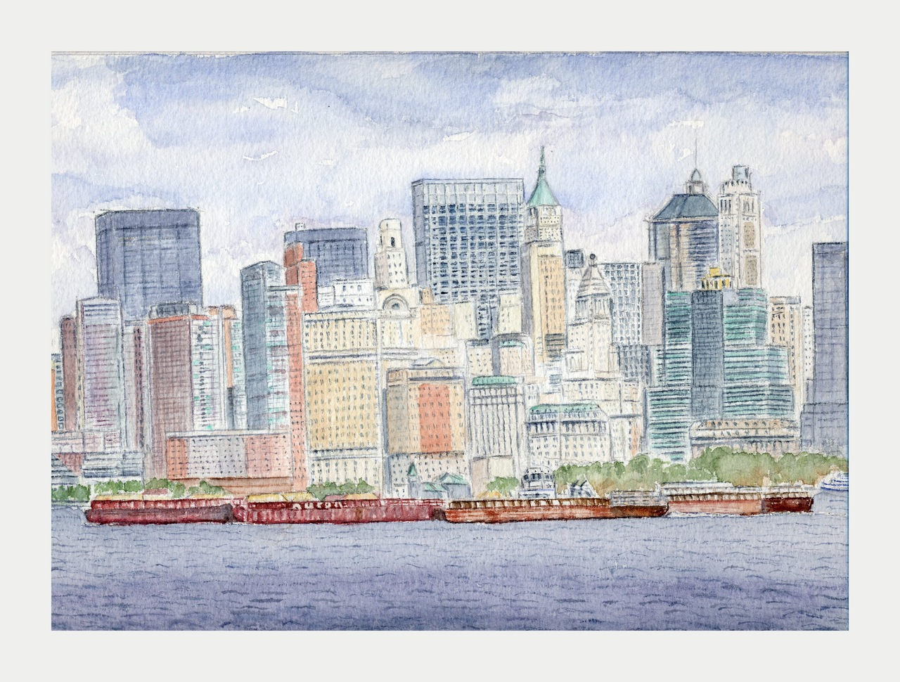 Barges à Manhattan - Aquarelle copyright Christiane Rau 2011 d'après photo de Johann Rau