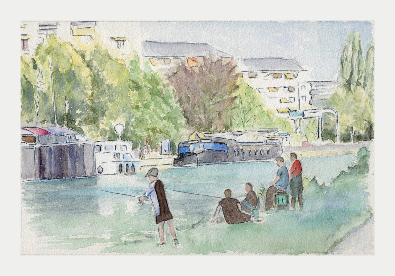 Canal de la Vesle à Reims - Aquarelle copyright Christiane Rau 2013 d'après photo de  Christian